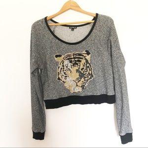 Express Cropped Sweatshirt Sequin Tiger M